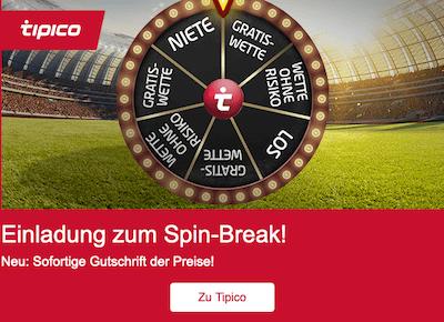 Freebets und Wetten ohne Risiko beim Tipico Spin Break in der App für Android & iPhone gewinnen
