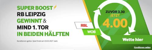 Super-Boost im DFB Pokal Viertelfinal zwischen VfL Wolfsburg und RB Leipzig in der Betway App für Android & iPhone