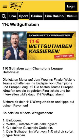 11 Euro Gratiswette zum Halbfinale der Champions League 2021 in der Interwetten App für Android & iPhone
