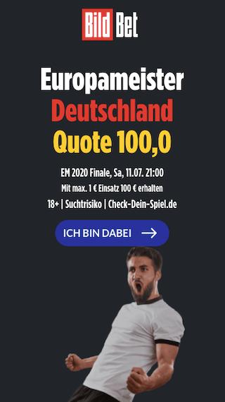 Wettquote von 100,00 mit Quotenboost für EM-Titel 2021 Deutschland in der Bildbet App für Android & iPhone