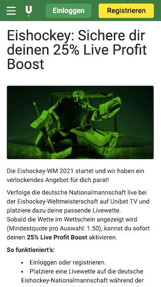 Eishockey-WM 2021 Live-Boost für Deutschland in der Unibet App für Android & iPhone