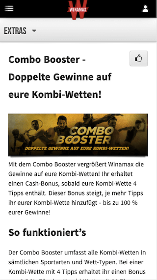 Combo Booster in der Winamax App für Android & iPhone