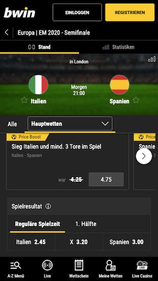 Alle Wetten & Quoten für das EM Halbfinale Italien - Spanien in der Bwin App für Android & iPhone