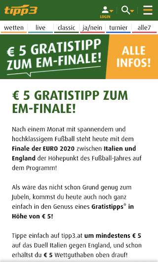 5 Euro Gratiswette für das EURO 2020 Finale in der Tipp3 App für Android & iPhone