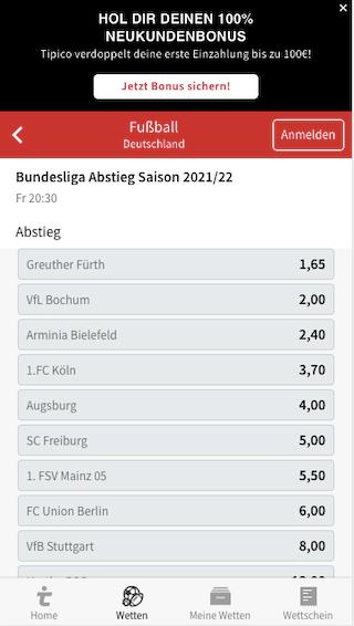 Wetten & Quoten der Bundesliga Absteiger 2021/2022 in der Tipico App für Android & iPhone