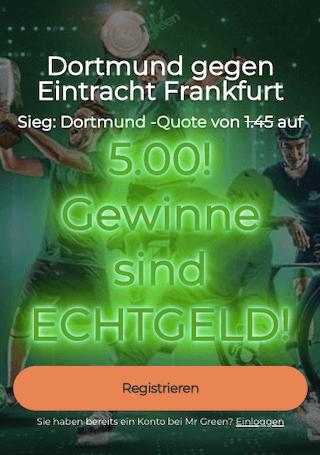 Quotenboost für BVB Dortmund gegen Eintracht Frankfurt in der Mr Green App für Android & iPhone