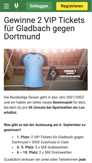 Gewinnspiel für 2 VIP-Tickets bei Borussia Mönchengladbach - BVB Dortmund in der Unibet App für Android & iPhone