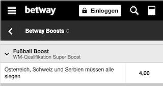 Quotenboost für die WM-Qualifikation 2022 für Österreich, Schweiz und Serbien in der Betway App für Android & iPhone