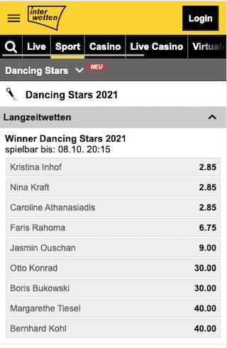 Wetten & Quoten für Dancing Stars 2021 in der Interwetten App für Android & iPhone